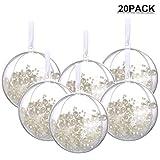 Amajoy 20PCS Bola de Navidad con Cinta Blanca 8CM Bolas...
