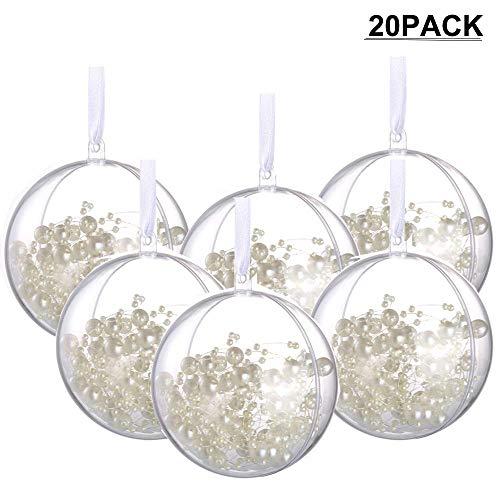 Amajoy 20PCS Bola de Navidad con Cinta Blanca 8CM Bolas de Adornos de Bricolaje Bolas rellenables Transparentes...