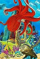 GooEoo 5×7フィートビニール漫画水中世界タコとウミガメ再生背景子供子供誕生日パーティーフォトブースプロップおとぎ話海底赤タコ写真背景壁紙