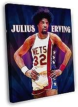 Julius Erving Dr. J Awesome Vintage Retro Painting Pop Art New York Nets Basketball 40x30 Framed Canvas Print