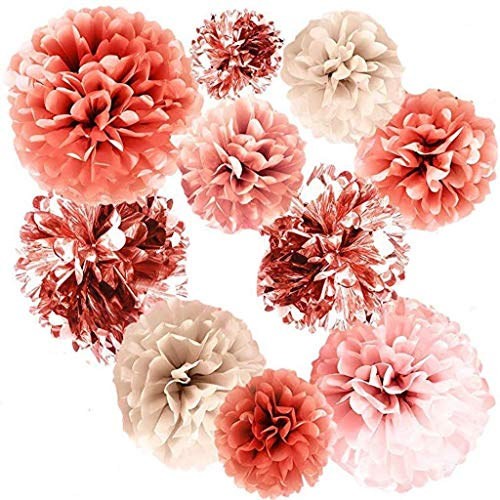 Meisjes Vintage Haaraccessoires Verwijderbare 20 Stks Metalen folie Ornament Rose Gold Party Decoraties Tissue Baby Douche Geweldig voor Ophangen op plafonds, Tenten, bomen, Folie Gordijn Art Decor voor Mode Retro