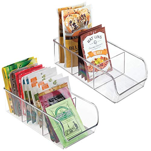 mDesign Plastic Food Packet Kitchen Storage Organizer Bin Caddy - Holds Spice Pouches Dressing Mixes Hot Chocolate Tea Sugar Packets in Pantry Cabinets or Countertop - 2 Pack - Clear