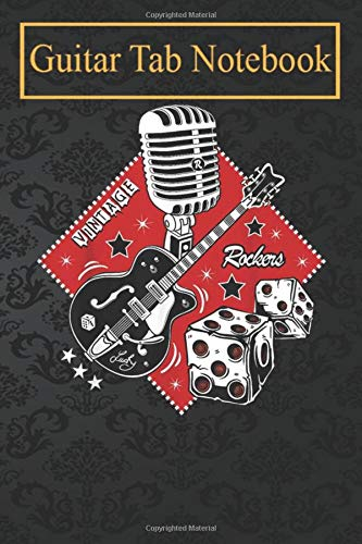 Guitar Notebook: Rockabilly 50s Sock Hop Rock N Roll Women Men Rocker Guitar -TcKei Blank Sheet Music For Guitar over 100 Pages With Chord Boxes
