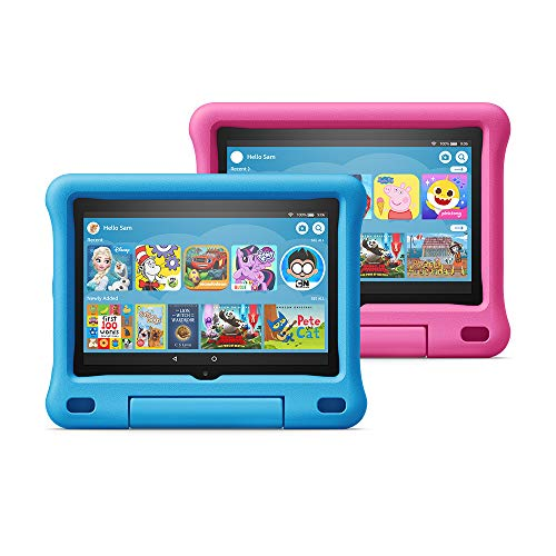 """All-new Fire HD 8 Kids Edition tablet 2-pack, 8"""" HD display, 32 GB, Blue/Pink Kid-Proof Case"""
