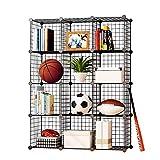 KOUSI Storage Cube Organizer Stackable Cubes for Storage Cubby Unit Wire Bookshelf, Black (12 Cubes)