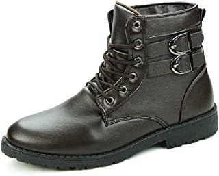 2019 Mens New Lace-up Flats Ankle Boots for Men Combat Boot Round Toe Lace up Synthetic Leather High Top Solid Colour Stitch Dual Buckle Straps Anti-slip Soft Durable ( Color : Brown , Size : 7 UK )