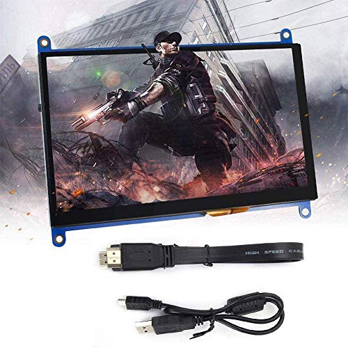 Portable LCD Display Capacitive Touch Screen, 7 inch 1024x600 HD Electronic Monitor Screen, Monitor Touch Screen fit for Raspberry Pi 3 2 1, LCD Display Touch Screen with HD Line & Power Cord