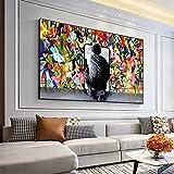 Poster wall art 60x80 cm sin marco graffiti art posters e impresiones detrás de las cortinas pintura de la pared de la calle lienzo decoración de la sala de estar pintura