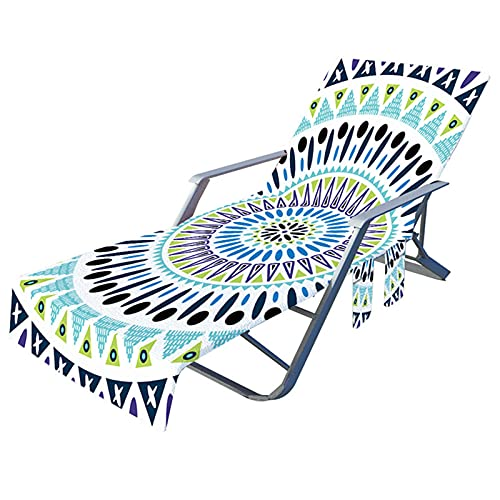 Kaijia Funda de silla de playa con bolsillos laterales de microfibra para tumbonas, hoteles, no deslizantes de 209,8 x 72,8 cm