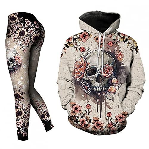 Sonojie Damen Jogginganzug Sportanzug,Anzug mit Halloween Totenkopf Drucken Hoodie & Pants,Trainingsanzug Set für Damen Homewear