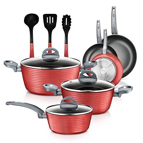 NutriChef 12-Piece Nonstick Kitchen Cookware Set - Professional Hard Anodized Home Kitchen Ware Pots and Pan Set, Includes Saucepan, Frying Pans, Cooking Pots, Dutch Oven Pot, Lids, Utensil -