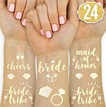 xo, Fetti Bachelorette Party Tattoos - Bride Tribe, Maid of Honor - 24 Metallic Styles - Bridal Shower Favor and Decorations