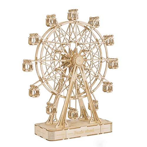Robotime Puzzle 3D Puzzle Música Kits de Modelos de Madera Maquetas para Adultos de Construcción Laser Cut Puzzle Regalo de Desafío (Ferris Wheel)