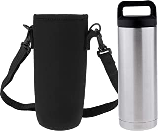 Prettyia Insulated Stainless Steel Leak Proof Sports Water Bottle Flask with Storage Bag, 16oz 36oz 64oz