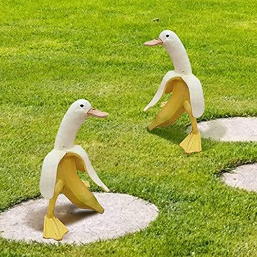 2 Pcs Banana Duck Duck Statue Whimsical Garden Decor Banana Duck Yard Art Ornaments Decoration for Patio Yard Lawn Porch Ornament Gift