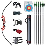 D&Q Archery Set Adult Bow and Arrow Set Adult Takedown Recurve Bow Hunting Bow Target Practice Competition Survival Longbow Right Hand 50' 30lbs, 40lbs with 6pcs Fiberglass Arrows (Red,30lb)