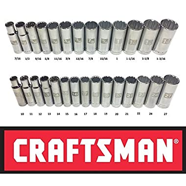 Craftsman Laser Etched Easy Read 28 Piece SAE & Metric 1/2  Drive 12 Point Deep Well Socket Set
