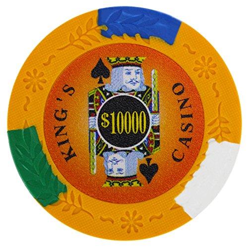 Brybelly King's Casino Premium Poker Chip 14-Gram Heavyweight Clay Composite – Pack of 50 ($10000 Orange)