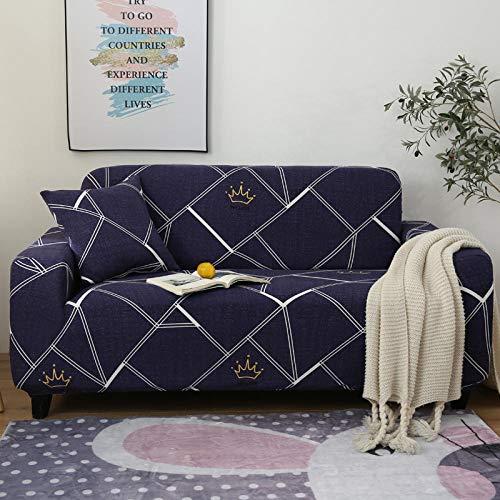 Funda de sofá de 4 Plazas Funda Elástica para Sofá Poliéster Suave Sofá Funda sofá Antideslizante Protector Cubierta de Muebles Elástica Patrón geométrico Azul Funda de sofá