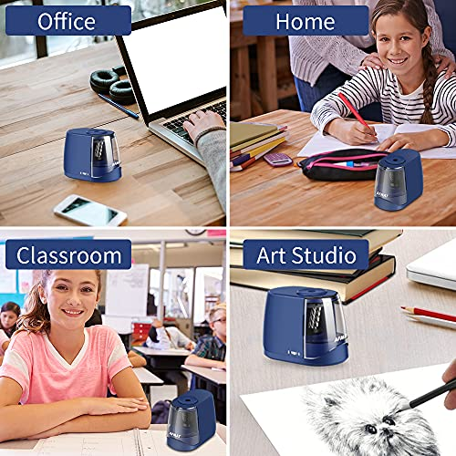 AFMAT Pencil Sharpeners, Electric Pencil Sharpener, Handheld Pencil Sharpener for 6-8mm No.2/Colored Pencils, Great for Classroom/Home, Adjustable Sharpness, Plug in or Battery Powered,Blue Photo #6