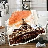 Paris Cityscape - Manta de forro polar para sofá cama, torre Eiffel de felpa, manta de sherpa estilo francés moderno, para viajes al atardecer, bebé, 30 x 40 pulgadas