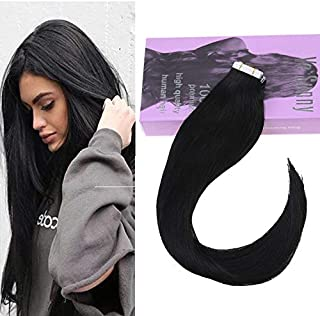 VeSunny Black Tape in Hair Extensions Silky Straight Human Hair 10pcs/25g Adhesive Tape in Extensions Black Remy Human Hair 18 Inch