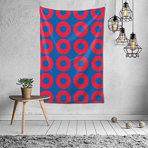 Wbydgoigo Phish Red Donut Circles On Blue Tapestry Wall Hanging (60X40inches) Wall Art Tapestry for Living Room Home Decor