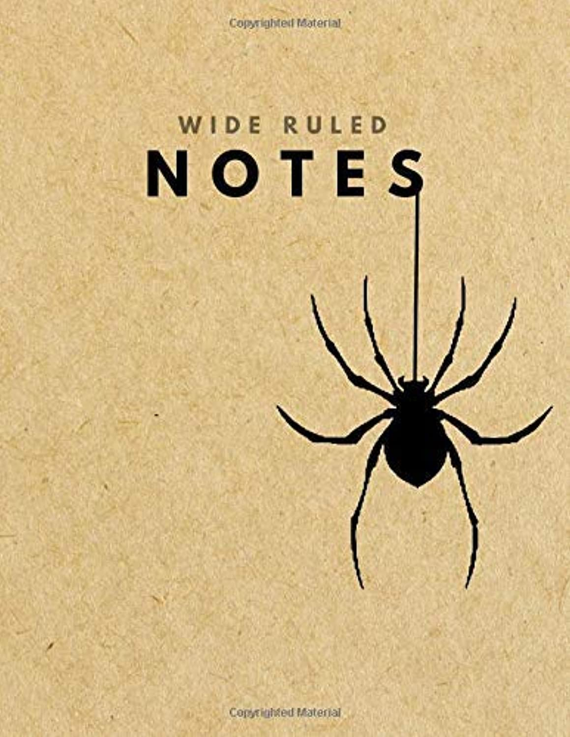 Wide Ruled Notes: Spider Brown Paper Soft Cover | Large (8.5 x 11 inches) Letter Size | 120 pages | Lined Retro Notebook (no margins) [並行輸入品]