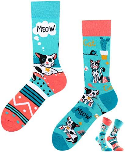 TODO Colours Calzini con Gatti Uomo Donna - Cats Life - divertenti, animali, colorati (39-42, Cats Life)