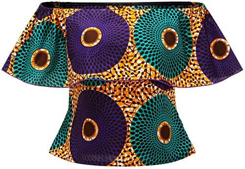 Shenbolen Women African Print Top Ankara Shirt(A,Large)