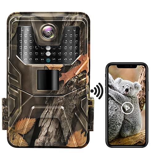 Wildkamera WLAN, Hieha 4K/30MP HD Bluetooth Wildtierkamera Bildübertragung mit Bewegungsmelder Nachtsicht, 0,2s Trigger, 44 pcs 940nm IR LEDs, Jagdkamera mit 64G Speicherkarte