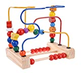 Elloapic Wooden Around Beads Maze Kids Baby Intellectual Educational Toys (The Butterfly Birds&Flowers Move Round The Pearl)