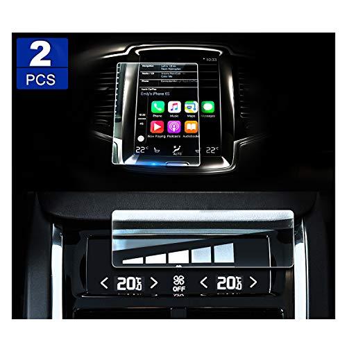 (2 Stück) YEEPIN 0.25mm Aus glas 9H Härte Kratzfest Displayschutzfolien für Volvo V90 XC90 S90 GPS-Geräte Tempered Glas Schutzglas für die Navigation&Klimaanlagen