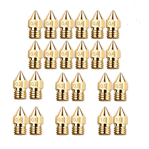 24 Pack 3D Printer Extruder Nozzle 0.2mm 0.3mm 0.4mm 0.5mm 0.6mm 0.8mm 1.0mm with Free Box for Makerbot Creality CR-10