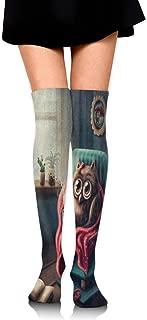 Thigh High Socks Cute Polka Dot Cartoon Foxes Over The Knee High Tube Socks Winter Boot Stocking Women