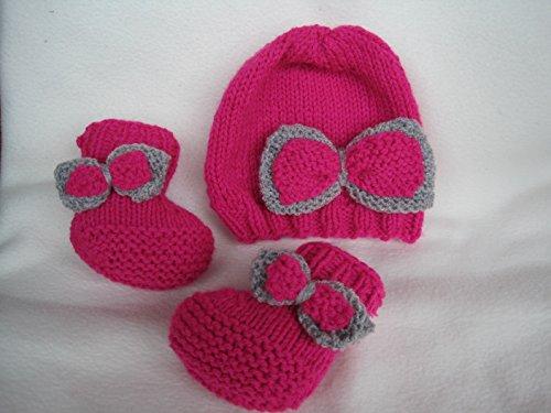 Strickanleitung Babymütze + Babyschuhe im Set, ohne Nadelspiel, für Babys bis 6 Monate: Schritt für Schritt Anleitung