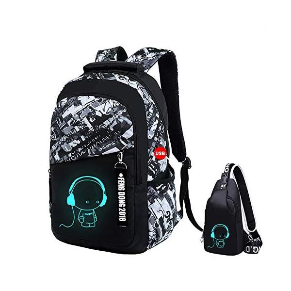 51JD4cOdocL. SS600  - UMYMAYDO1 DJ Luminous Mochila, Unisex Schoolbag Mochila para portátil Bolsa Fresca para Adolescentes con USB Puerto…