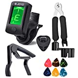 MOREYES Guitar Capo Tuner Clip On Guitar Bass Violin Ukulele Chromatic with Guitar