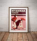 AZSTEEL Vintage Poster Myanmar Yangon 2 Nuns   Poster No