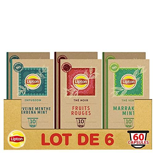 Lipton Assortiment de 3 Thés en Capsules Compatibles Nespresso : Thé Vert Marrakech Mint, Infusion Verveine Menthe, thé Noir Fruits Rouges, Compatibles Machines Nespresso, x60 capsules