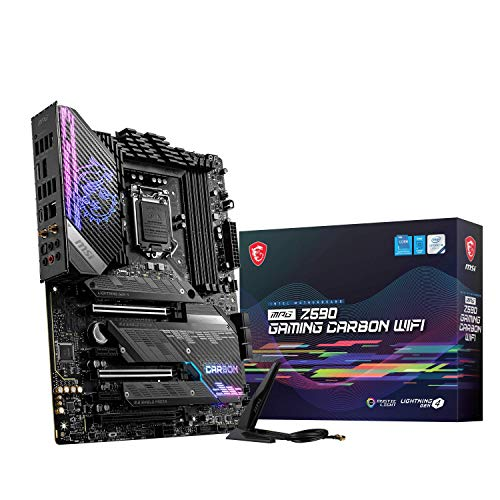 MSI MPG Z590 GAMING CARBON WIFI Mainboard ATX, unterstützt Intel-Prozessoren der 11. Generation, LGA 1200, Mystic Light, 75A VRM, DDR4-Boost (5333 MHz/OC), 2x PCIe 4,0x16, 3x M.2 Gen4 / 3x4, Wi -Fi 6E