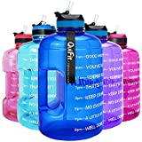 QuiFit 73 oz Motivational Water Bottle - with Straw & Time Marker BPA Free Large Reusable Sport Water Jug with Handle for Fitness Outdoor Enthusiasts Leak-Proof(Hot Blue,73 oz)