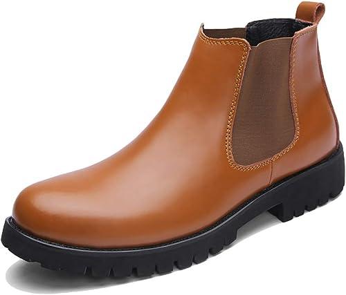 Zapaños Cuero para hombres Boda Formal Cuero negro Botines Adultos Vendimia Negocio Chelsea botas Oficina Trabaño Antideslizante marrón Botín