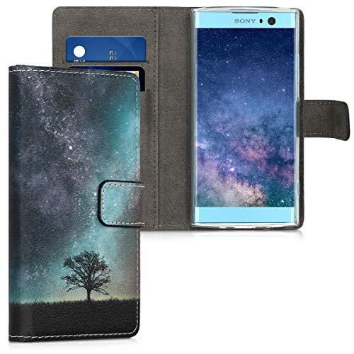 kwmobile Hülle kompatibel mit Sony Xperia XA2 - Kunstleder Wallet Hülle mit Kartenfächern Stand Galaxie Baum Wiese Blau Grau Schwarz