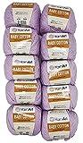 YarnArt Baby Cotton - Ovillo de lana para tejer (50% algodón, 500 g, 10 unidades), color lila