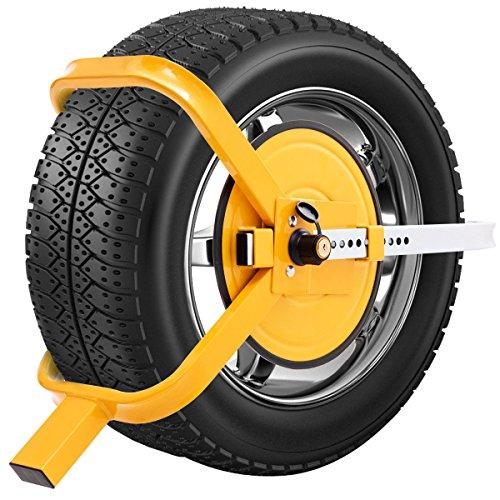 COSTWAY Wegfahrsperre Radkralle, Parkkralle Reifenkralle Diebstahlsicherung, Radsicherung Auto/Pkw/Anhänger 13-15 Zoll