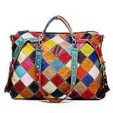 H&J Estilo Vintage Moda Cuero Genuino Colorido Patchwork Gran Capacidad Bolso Bandolera para Mujer Niña