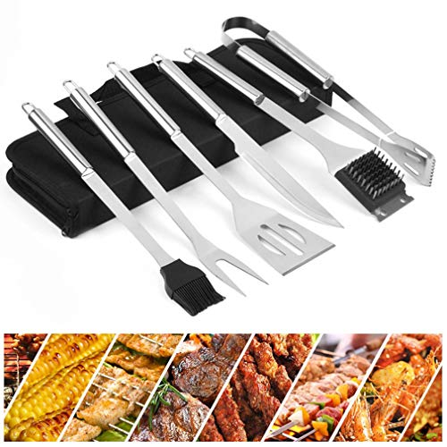 Fantastic Prices! CROWN 6-Piece BBQ Grill Set, Heavy Duty Stainless Steel BBQ Tool Kit with Hanging ...