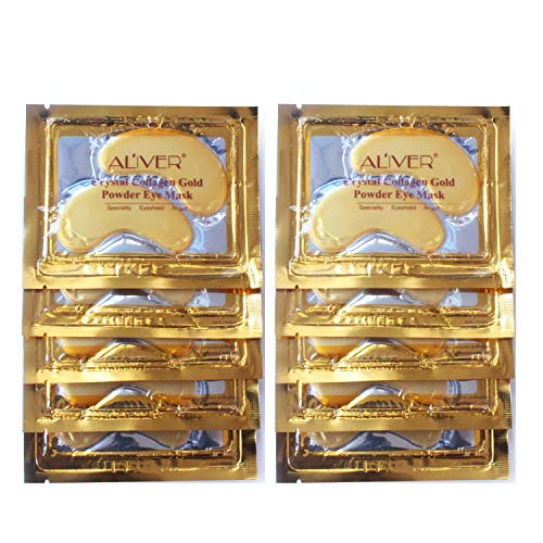 Aliver Under Eye Patches, 24K Gold Anti-Aging Under Eye Mask, Gel Collagen Pads for Puffy Eyes & Bags, Dark Circles and Wrinkles, Hydrating, Deep Moisturizing Improves Elasticity, 20 Pairs