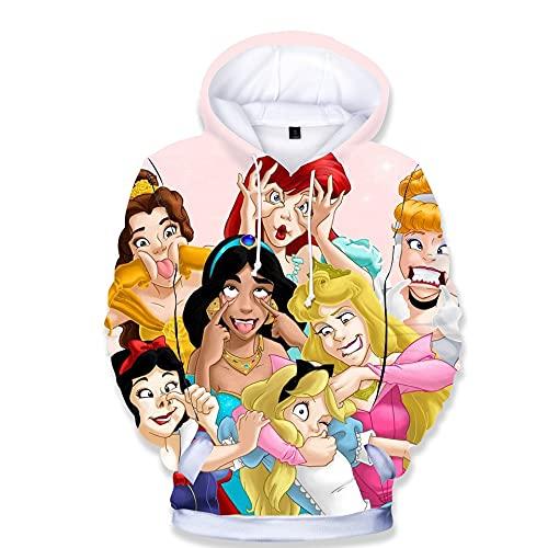 3D dibujos animados Harajuku Vogue princesa imprimir sudaderas con capucha bebé niño sudadera ropa para niños disfraces camiseta de manga XL